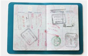 passport pages with stamps from different places